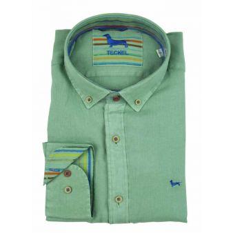 Camisa cuello botón verde