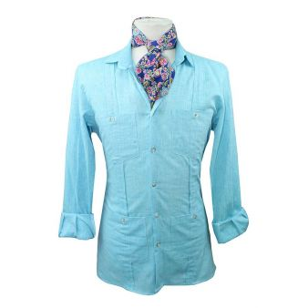 Camisa cubana turquesa