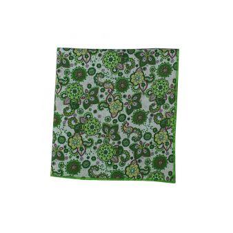 Pañuelo bolsillo flores verde