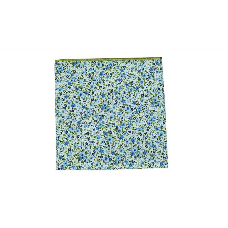 Pañuelo bolsillo flores azules
