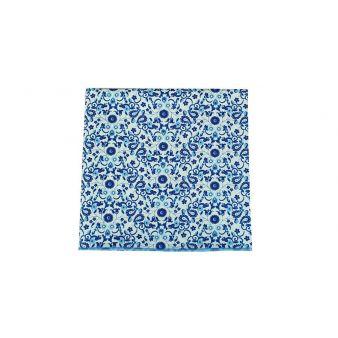 Pañuelo bolsillo flores azul