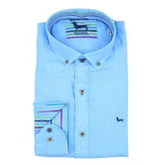 Camisa cuello botón azulina