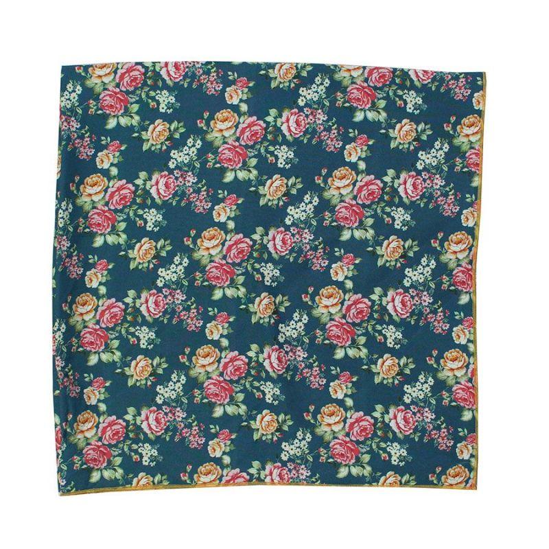 Pañuelo cuello flores petróleo