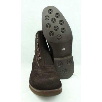 Bota corta botones ante marrón