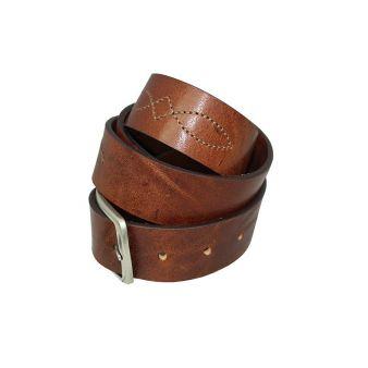 Leather topstitched belt