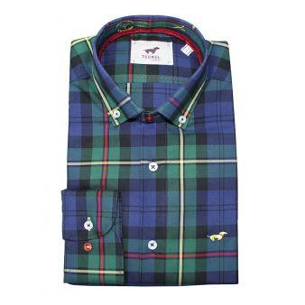 Camisa cuadros verde y azul