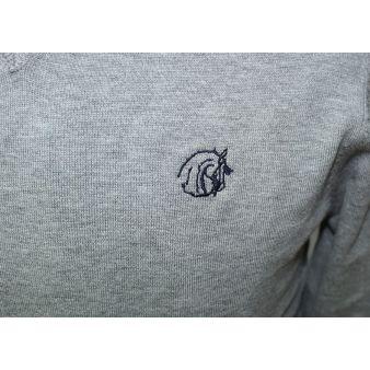 Jersey cuello pico burdeos