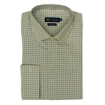 Camisa beig cuadros verde