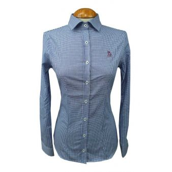 Lady's blue gingham shirt