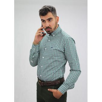 Green and navy checked shirt