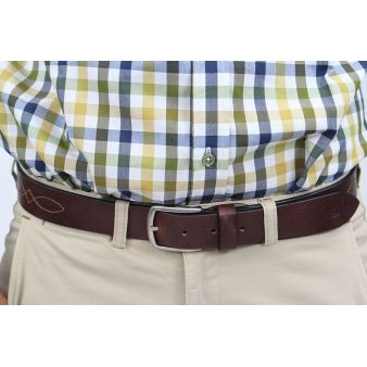 Brown topstitched belt