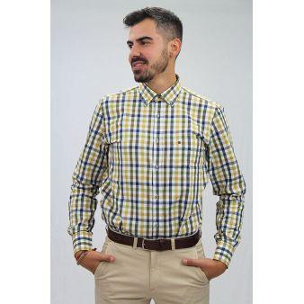 Camisa cuadros amarillo y verde