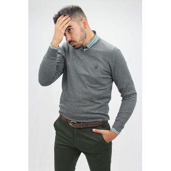 Jersey cuello pico gris marengo