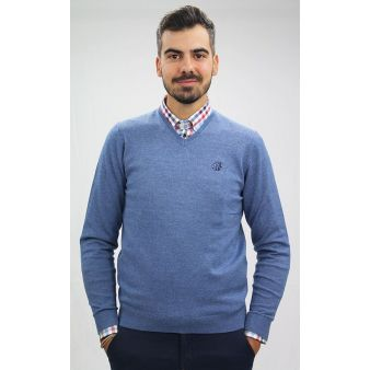 Indigo V-neck sweater