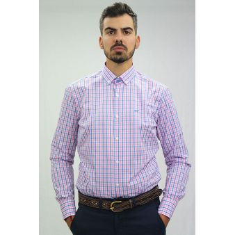 Camisa cuadros azul y rosa