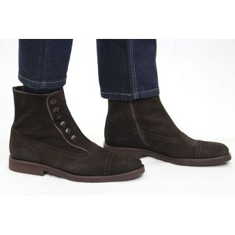 Short brown buttoned suede...