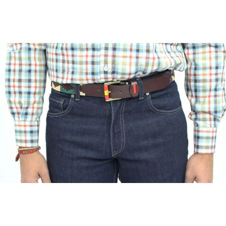 Cinturon marrón bordado beig-azul-verde