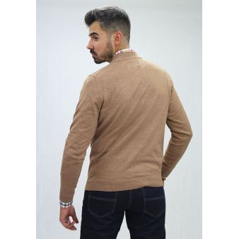 Jersey cuello pico camel